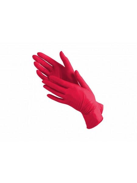 Перчатки нитриловые красные NitriMax, S 50 пар.